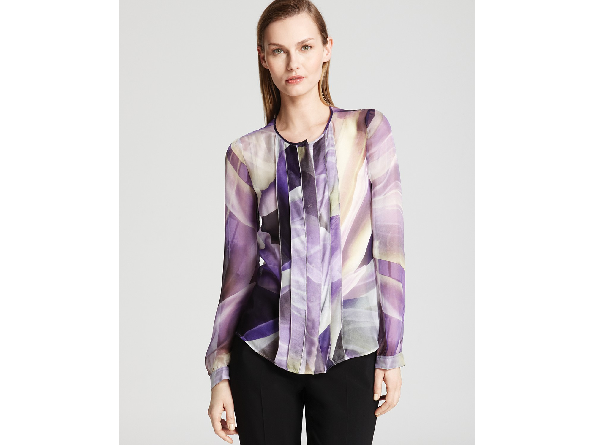 0c390dc9b32fd2 ... Lyst Armani Blouse Abstract Lily with Bow Tie in Purple Gallery Source  · Elegant ladies long sleeve shirt autumn white purple bow tie chiffon