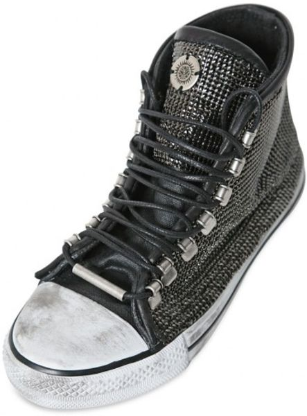Black Dioniso Metal Chainmail On Cotton Sneakers In Black