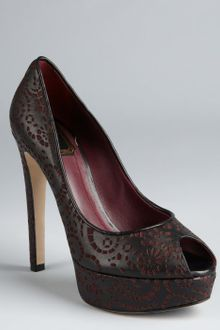 Dior Bordeaux and Black Laser Cut Black Leather Miss Dior Platform Peep Toe Pumps - Lyst