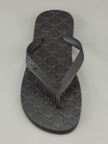 Gucci Monogram Flip Flop In Black For Men Lyst