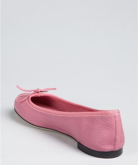 gucci pink leather bow gg stitch flats in pink lyst