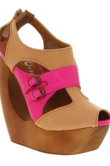 Jeffrey Campbell Rock Me Ex Nude Fuchsia Wedge Sandals - Lyst