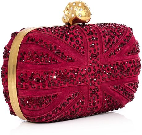 Alexander Mcqueen Swarovski Crystal Union Jack Clutch in Red (cherry)
