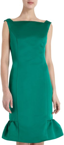Barbara Tfank Square Neck Dress in Green (emerald)