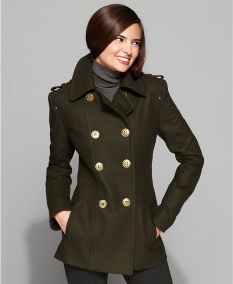 Kenneth Cole Reaction Double Breasted Military Peacoat in Green