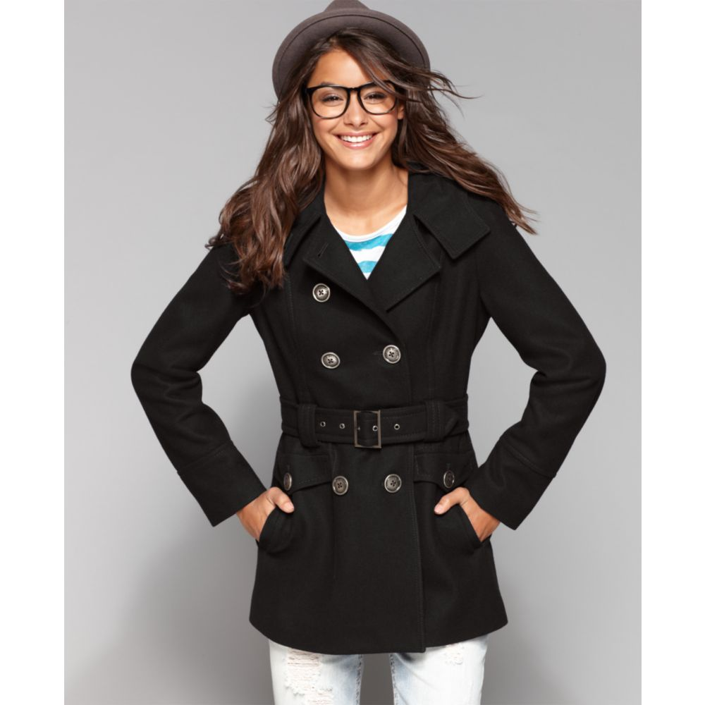 Miss sixty Hooded Double Breasted Belted Wool Blend Pea Coat in ...