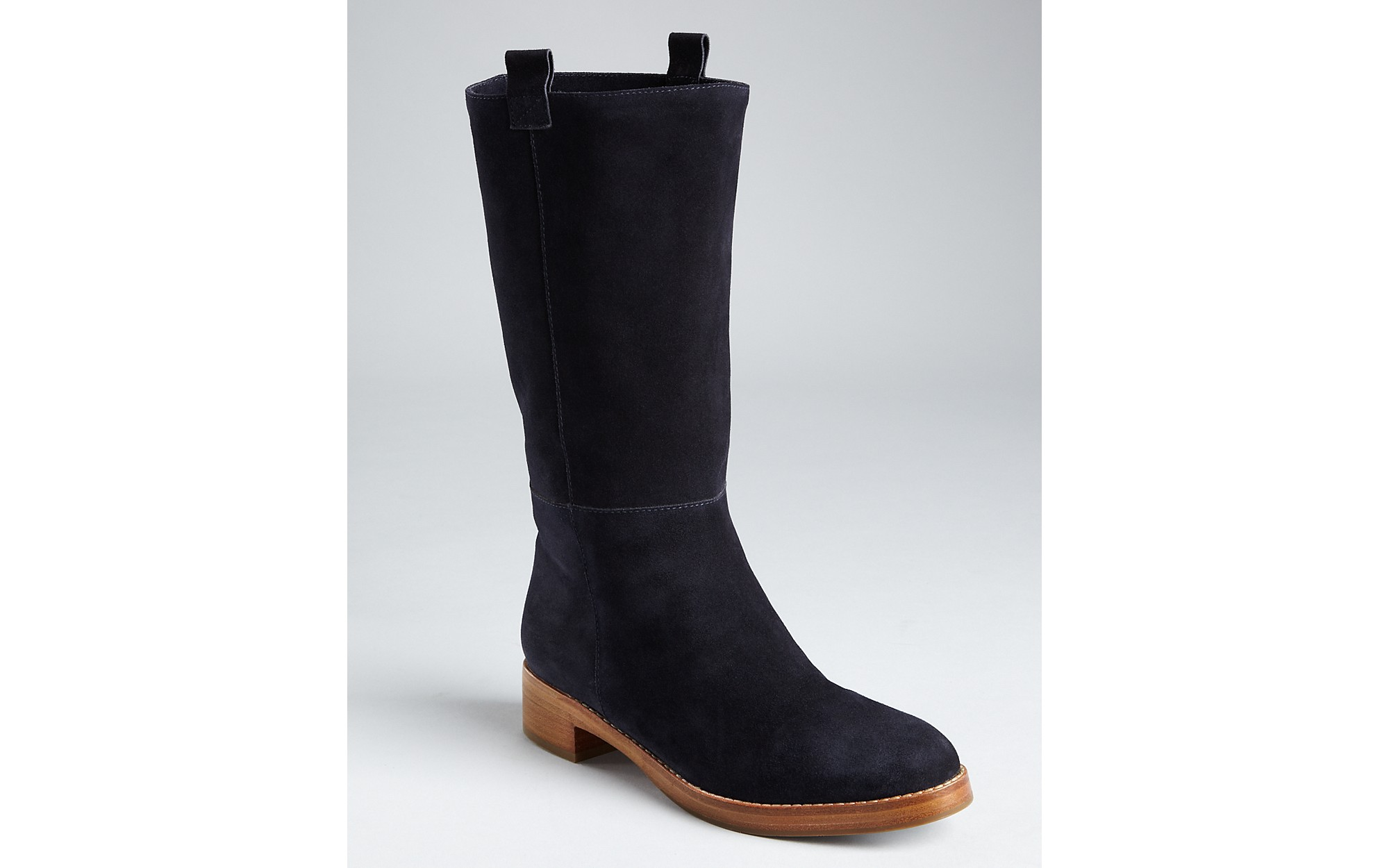 via spiga flat boots giana in black midnight suede lyst