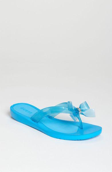 Guess Tutu Flip Flop In Blue Lyst