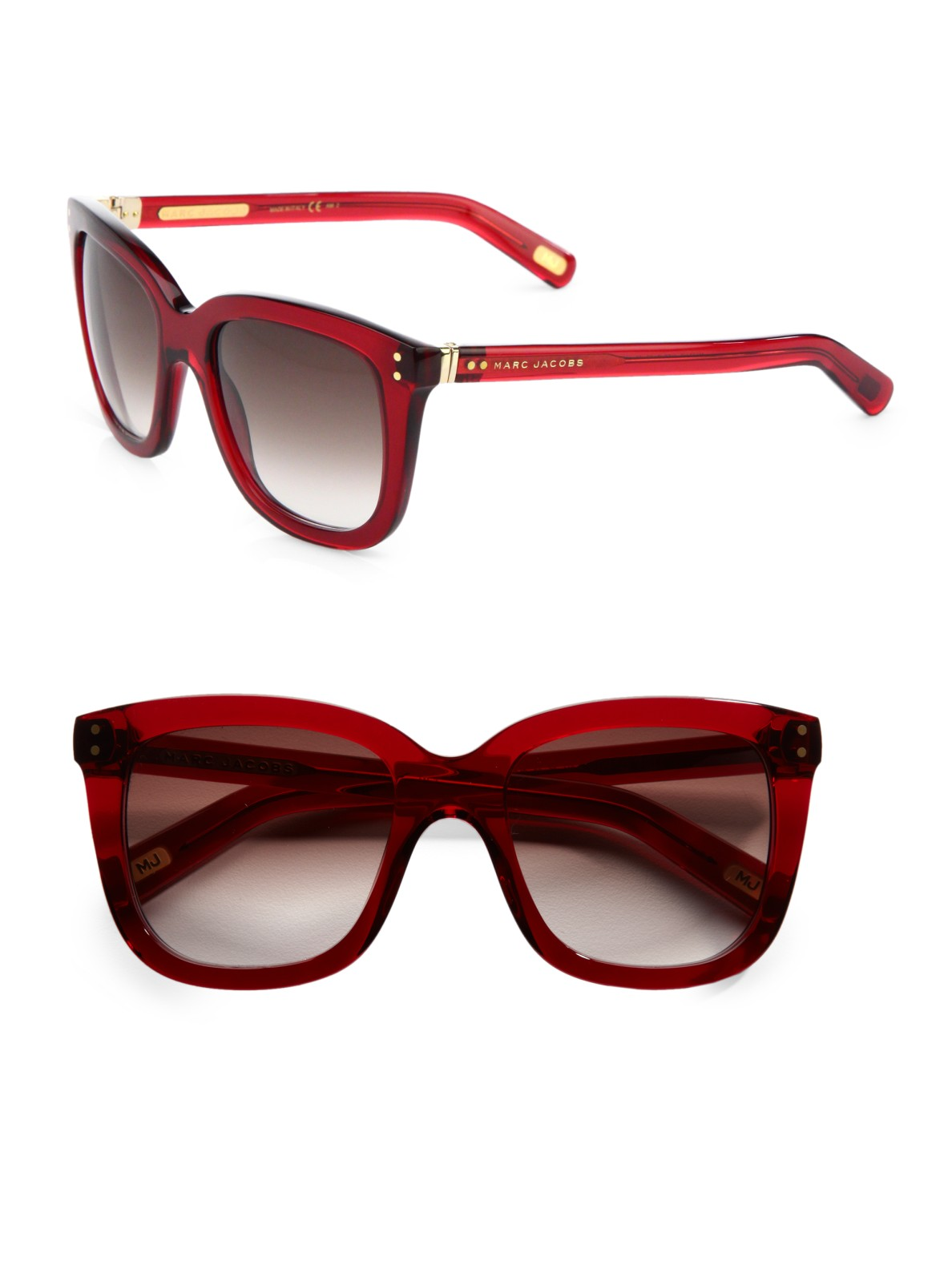 Red Marc Jacobs Sunglasses  marc jacobs plastic square sunglasses in red lyst