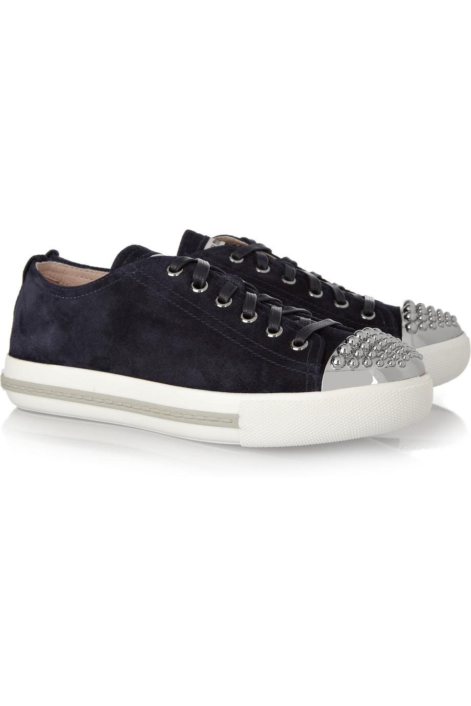 Lyst Miu Miu Studded Suede Sneakers In Blue