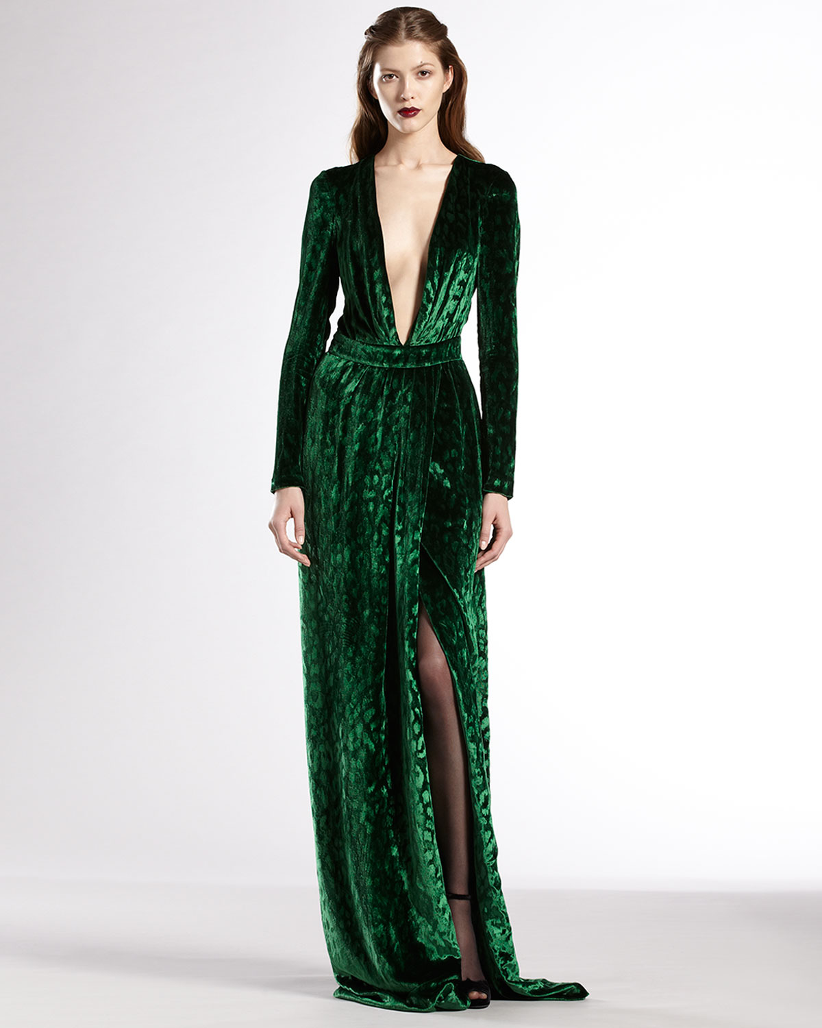 Gucci Velvet Deep Vneck Gown in Green - Lyst