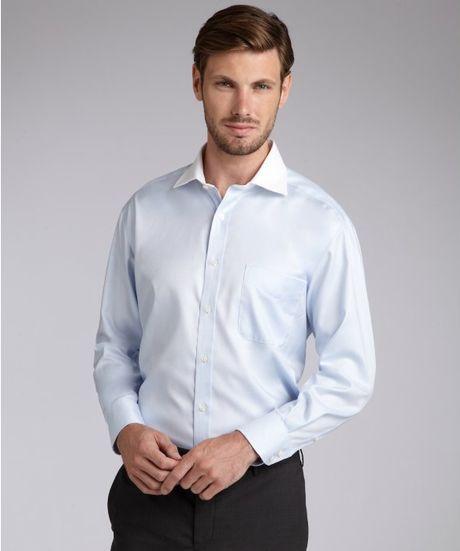 Joseph abboud light blue cotton twill burton spread collar for Joseph abboud dress shirt