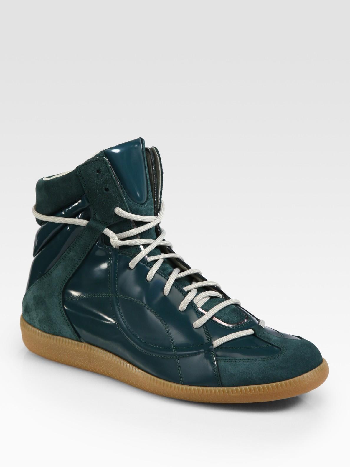 maison margiela hightop sneaker in green for men turquoise lyst. Black Bedroom Furniture Sets. Home Design Ideas