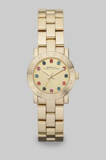 Marc By Marc Jacobs  Stone Accented Goldtone Ip Stainless Steel Watch - Lyst