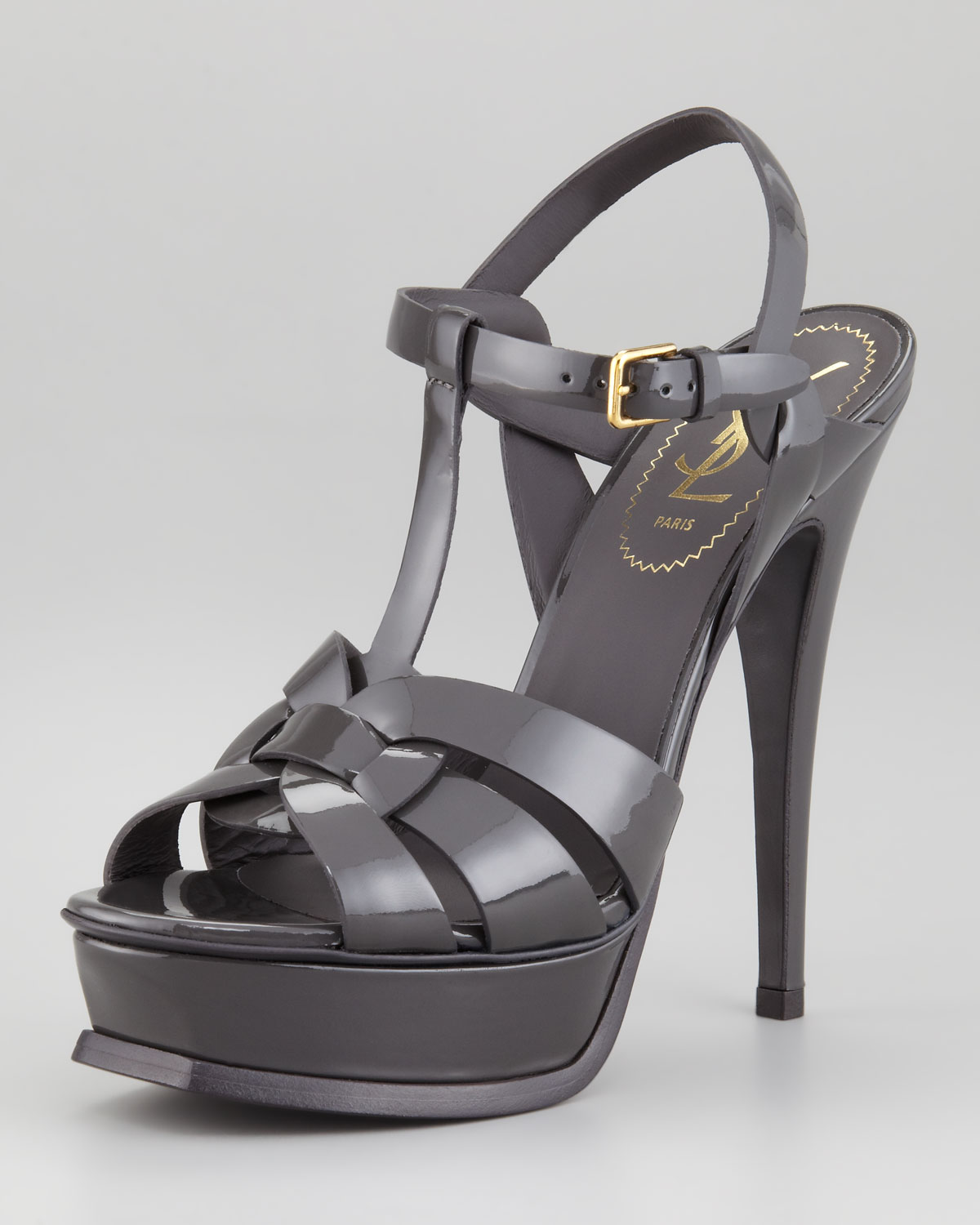 0390f80d6a9 Saint Laurent Tribute Patent Leather Sandal Light Gray in Gray - Lyst