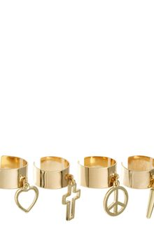 Asos Adjustable Pack Of Four Mixed Charm Band Rings - Lyst