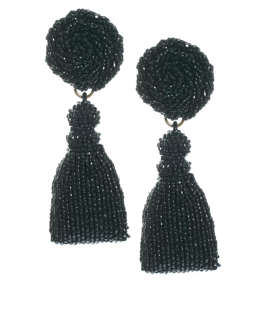 Lyst Danielle Scutt Beaded Drop Earrings In Black