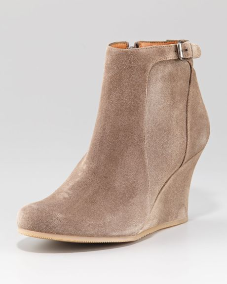 lanvin suede wedge ankle boot in beige taupe lyst
