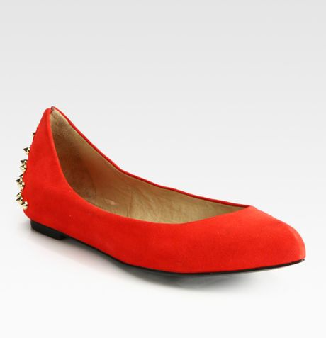 Mcq By Alexander Mcqueen Suede Studded Ballet Flats in Red