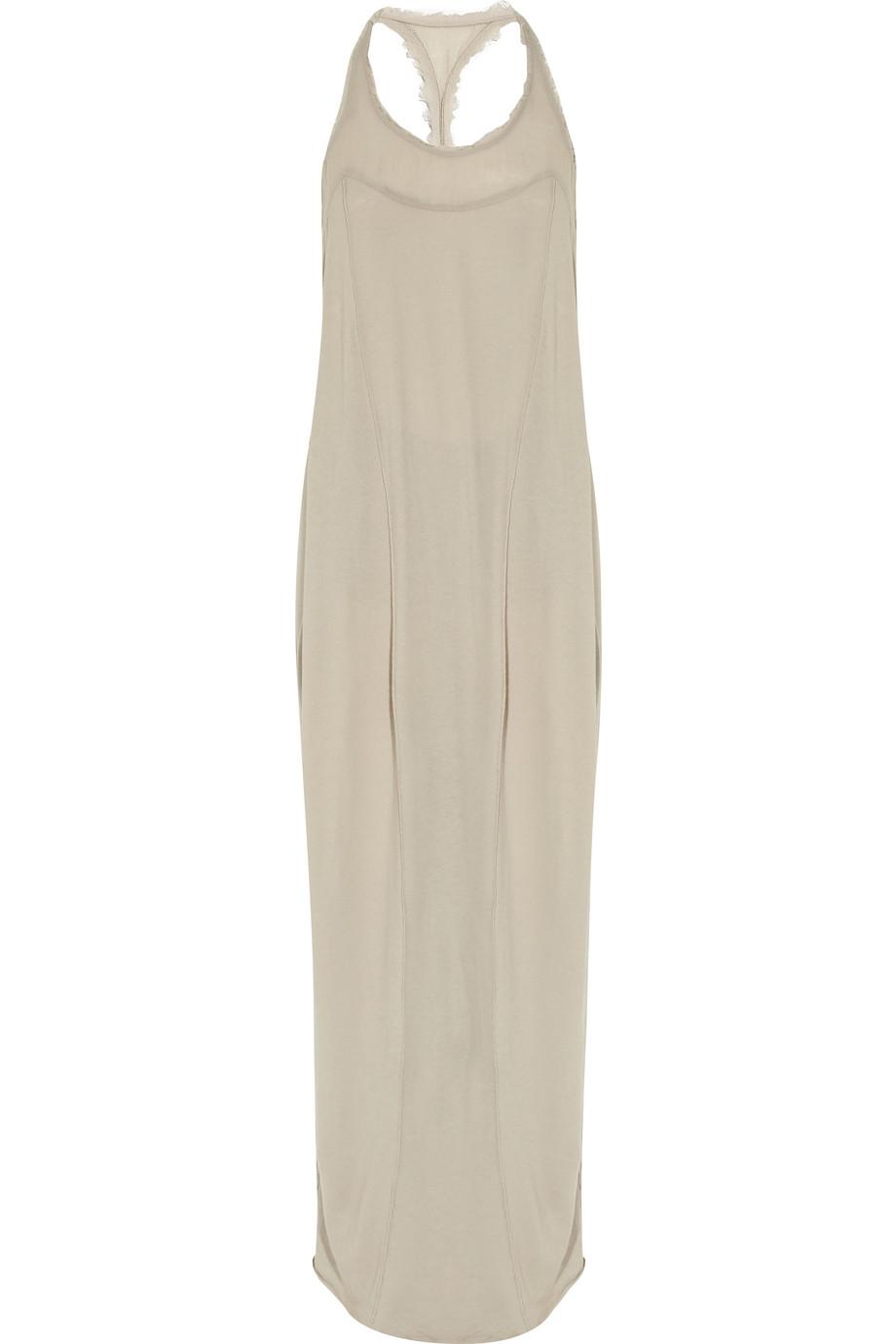 Raquel allegra Frayed Cotton-gauze Maxi Dress in Gray  Lyst
