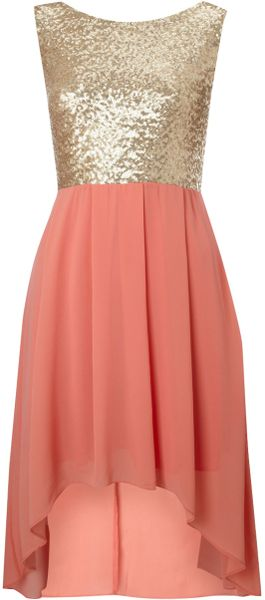 Tfnc Sequin Sarah High Low Dress in Pink (coral) - Lyst