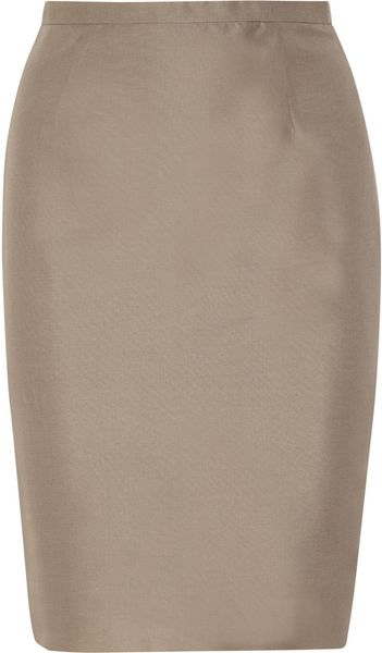 Valentino Woven Silk Pencil Skirt in Gray (taupe)