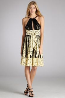 Z Spoke by Zac Posen Cream and Black Dancer Print Silk Blend Fringed Halter Dress - Lyst
