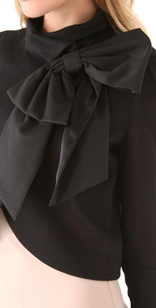 Alice Olivia Addison Bow Crop Jacket In Black Lyst