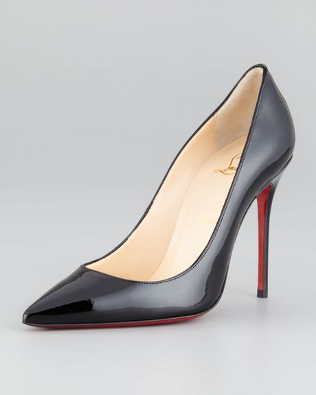 Christian Louboutin Decollete Patent Leather Stiletto Pump in Black - Lyst