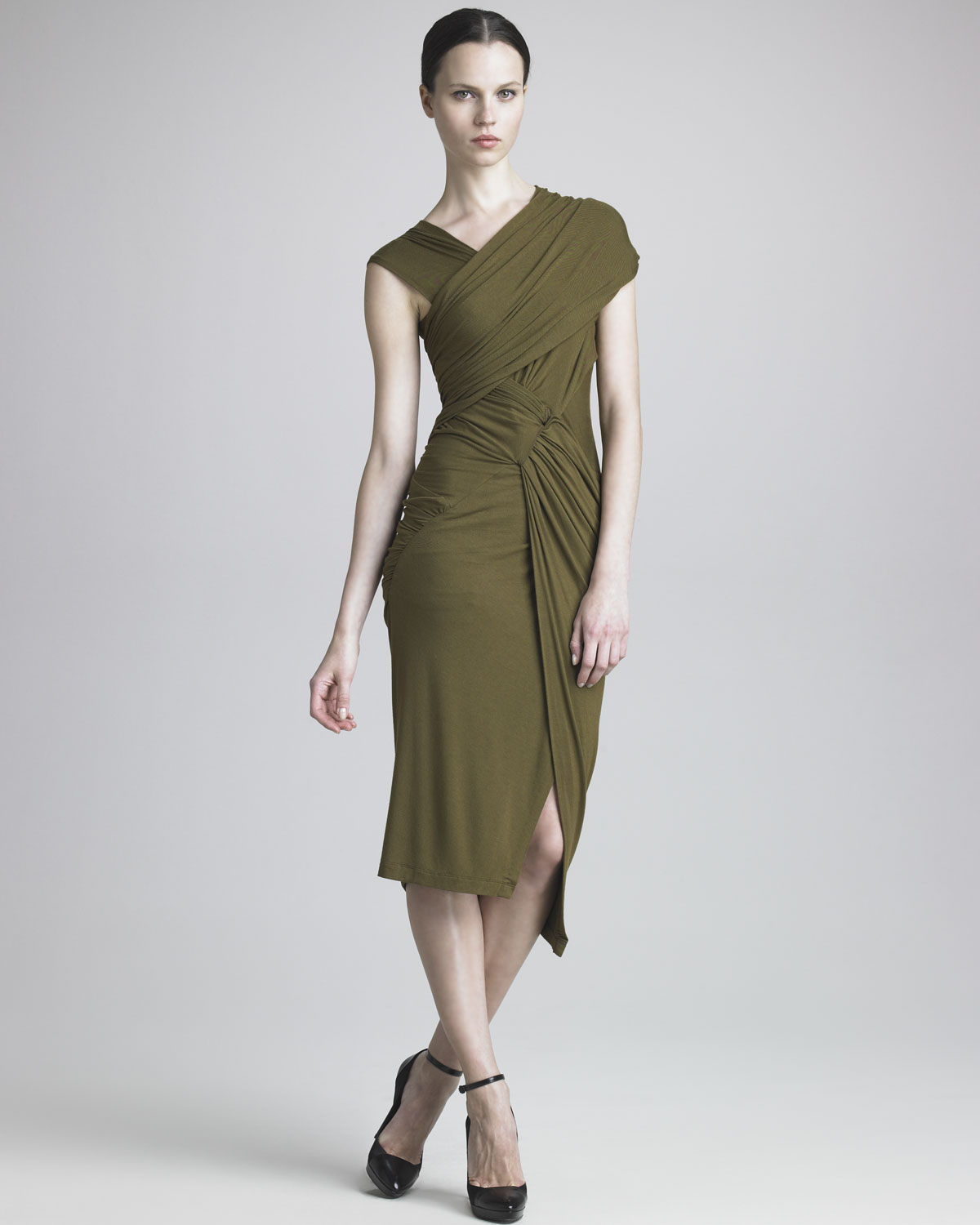 Donna karan new york draped jersey dress in green lyst for Donna karen new york