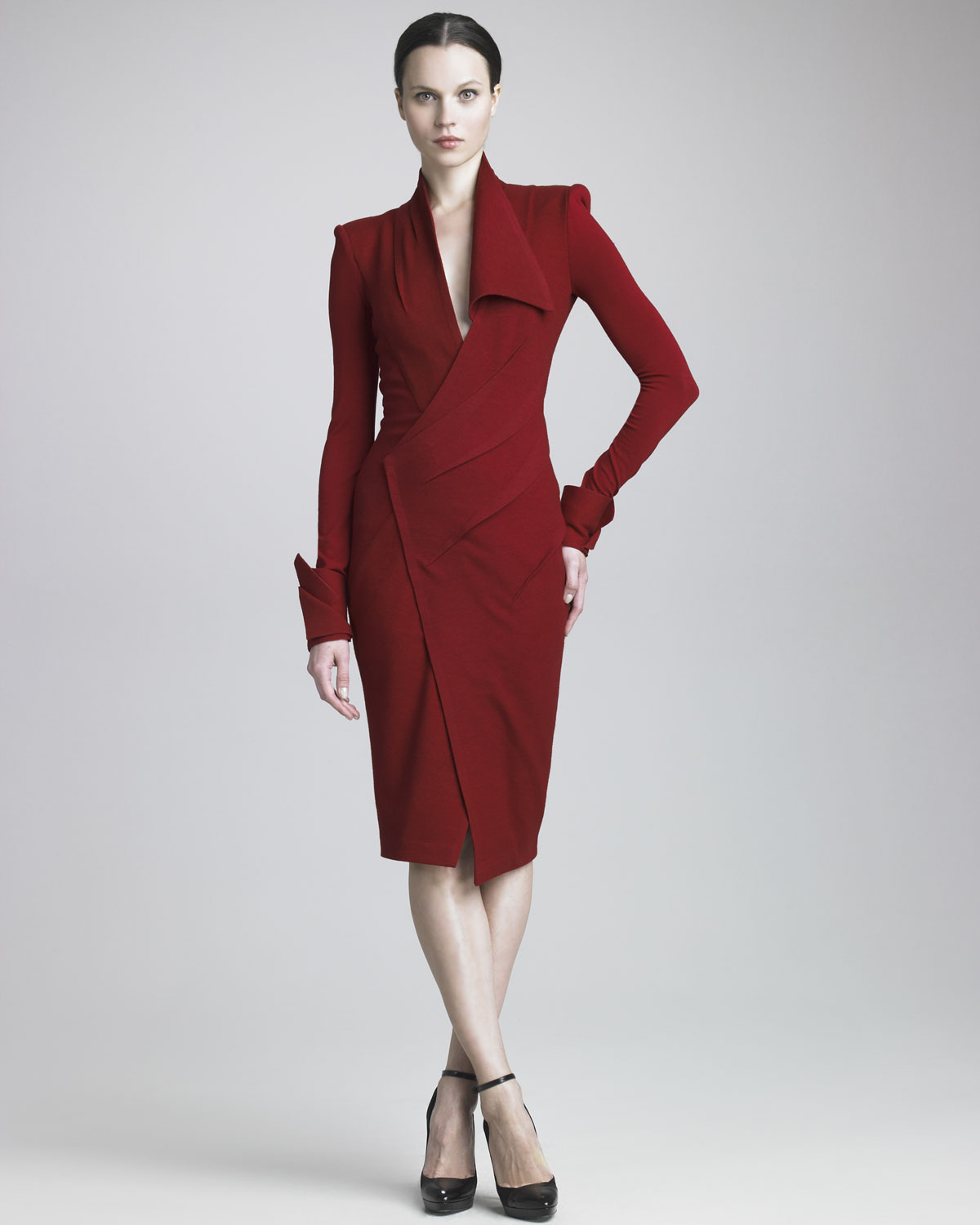 Donna karan new york draped jersey longsleeve dress in red for Donna karen new york