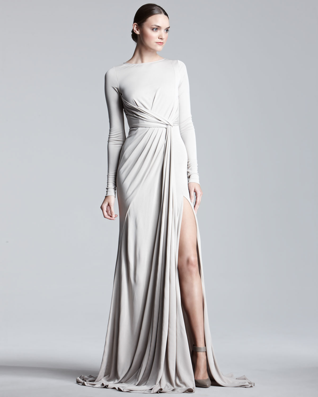 Lyst - Elie Saab Longsleeve Jersey Gown in Metallic