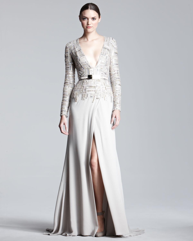Elie Saab Longsleeve Tweedbodice Gown In Metallic