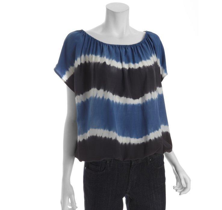 Joie Blue And Black Tie Dye Silk Short Sleeve Peasant