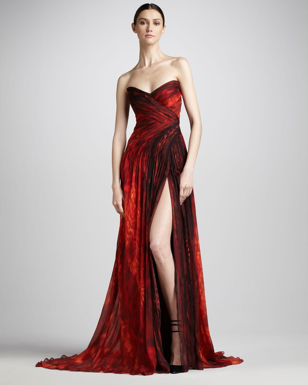 Chiffon Dressing Gown: Monique Lhuillier Strapless Chiffon Gown