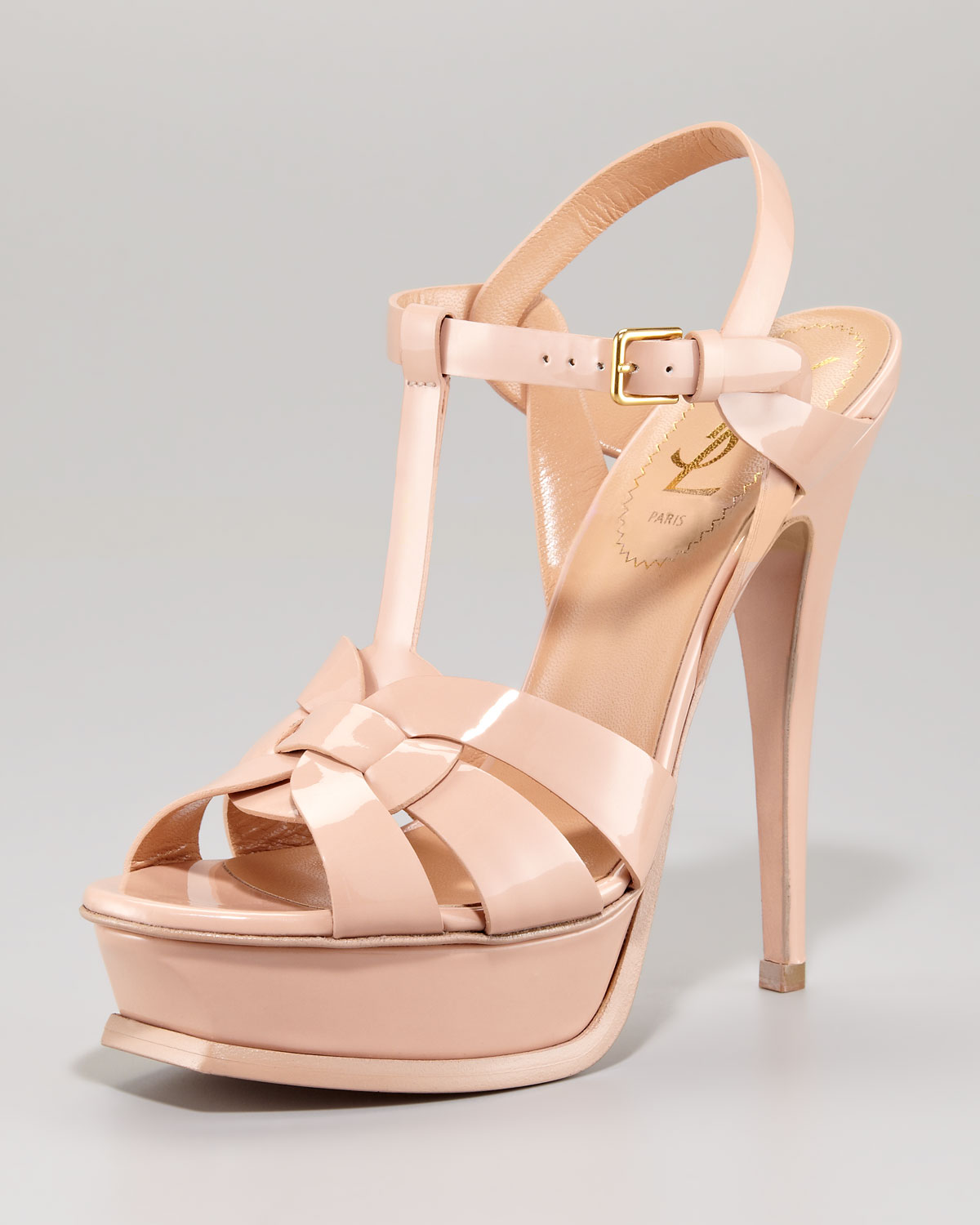 b8b481a2efdb Lyst - Saint Laurent Patent Leather Tribute Sandal in Natural