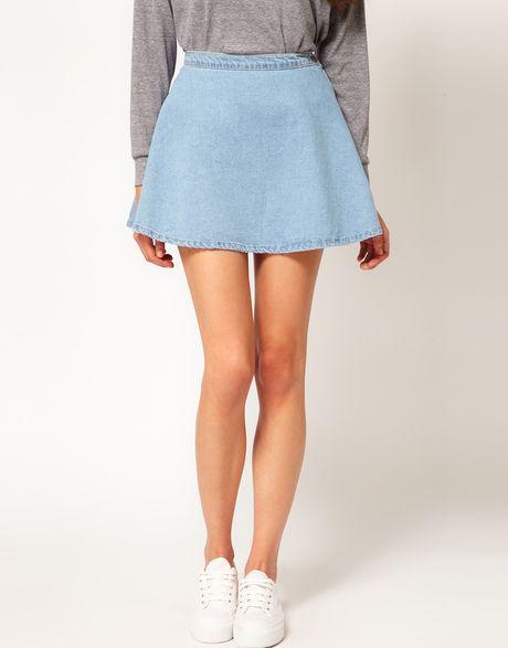 american apparel denim circle skirt in blue mediumwash