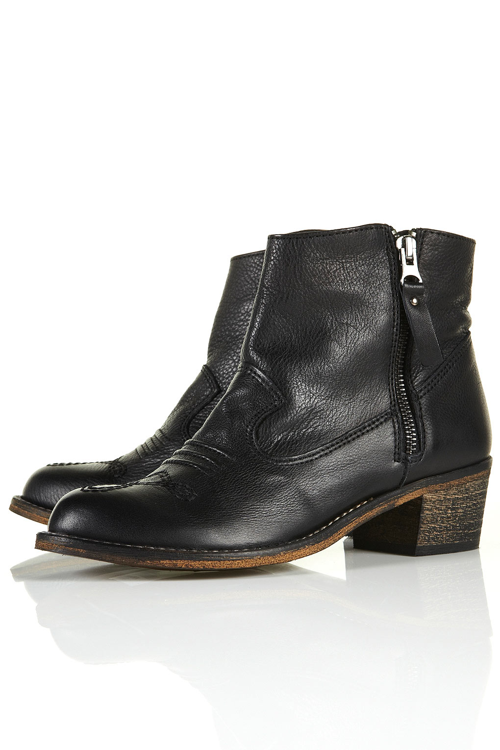 Topshop Artreu Western Ankle Boots in Black | Lyst