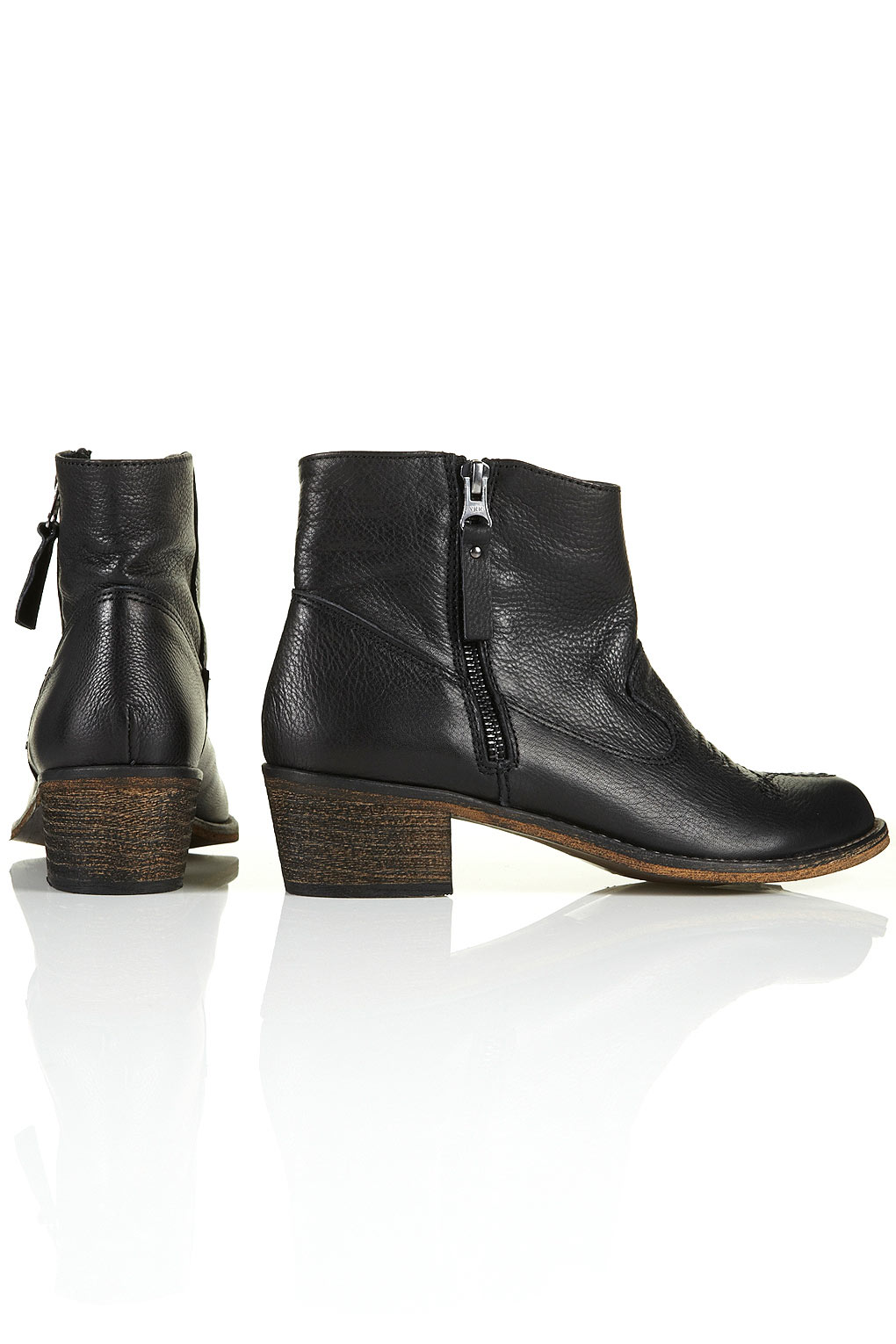 1bba88b9978a Lyst - TOPSHOP Artreu Western Ankle Boots in Black
