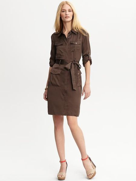 Banana Republic Heritage Safari Shirt Dress in Brown (barn ...
