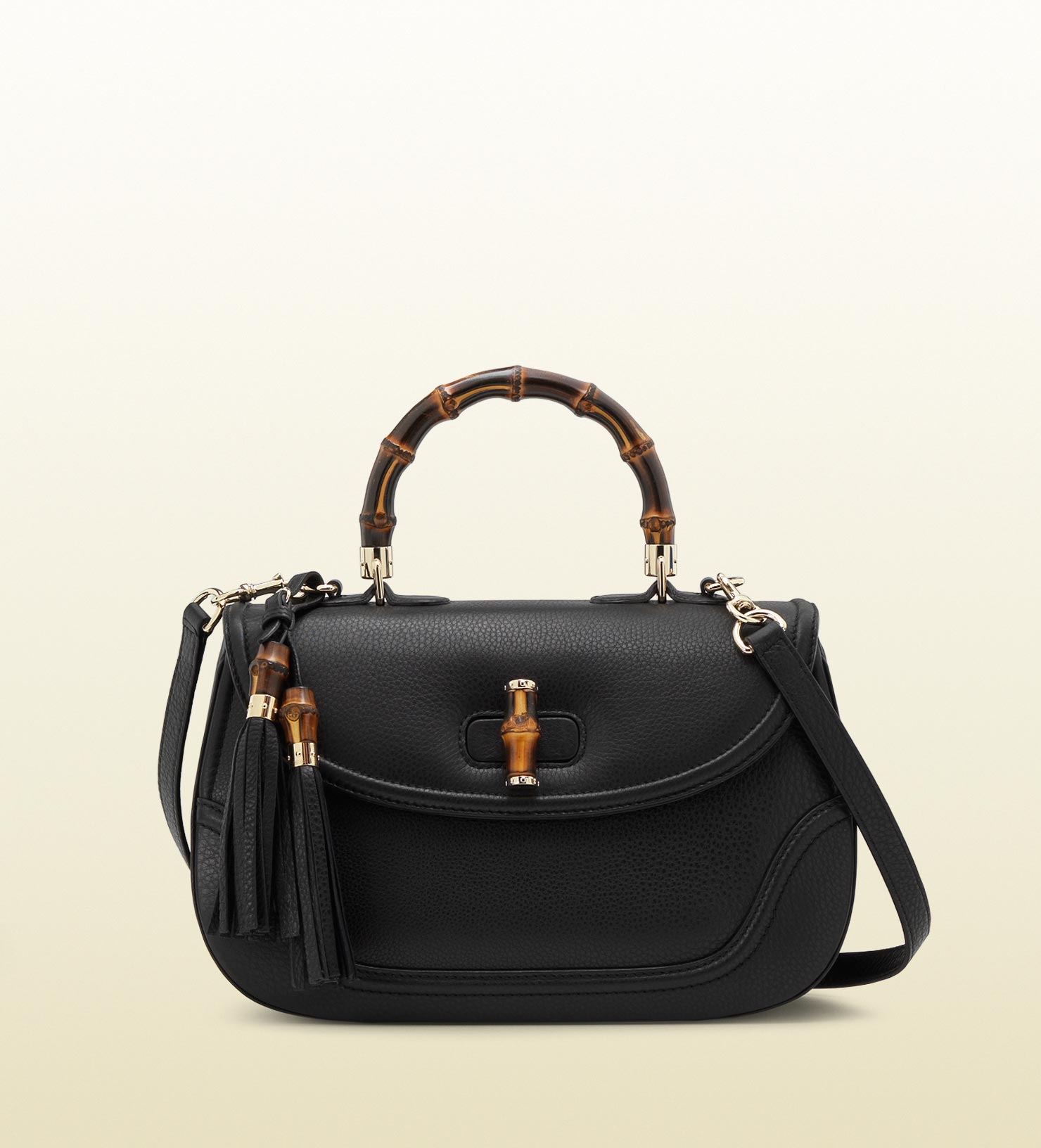 gucci new bamboo leather top handle bag in black bamboo