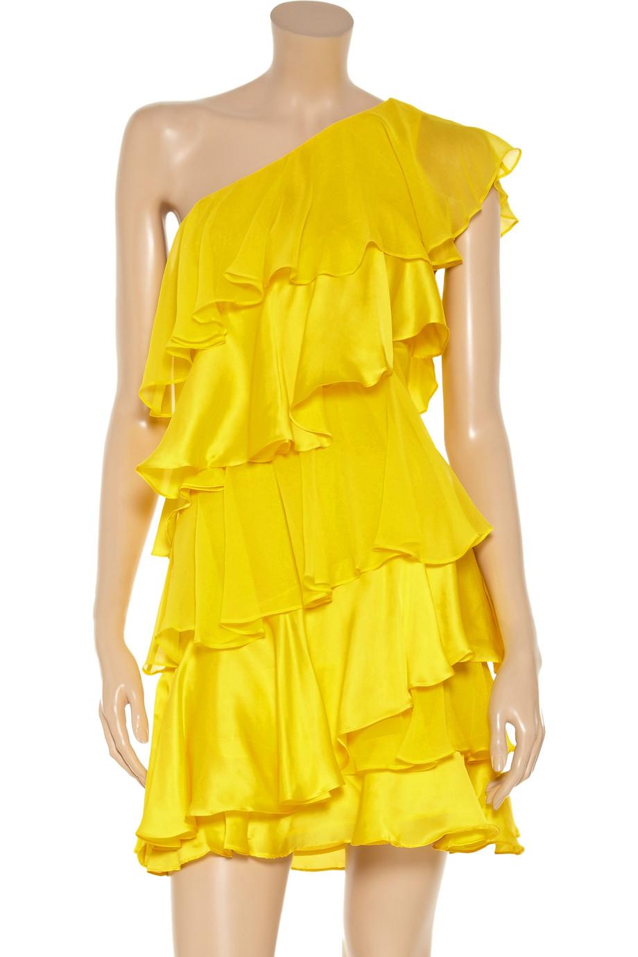Lyst Halston Tiered Silk Chiffon And Satin Dress In Yellow