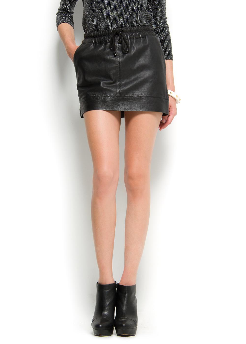 mango leather mini skirt in black 02 lyst