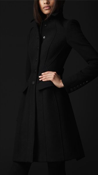 Burberry Prorsum Crêpe Wool Tailored Coat in Black - Lyst