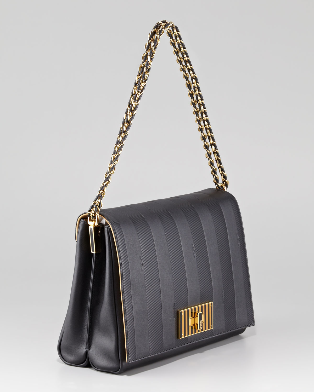 Fendi Pequin Tonal Stripe Shoulder Bag in Black - Lyst 7061619752