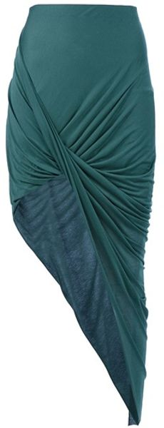 Helmut Lang Drape Skirt in Green - Lyst