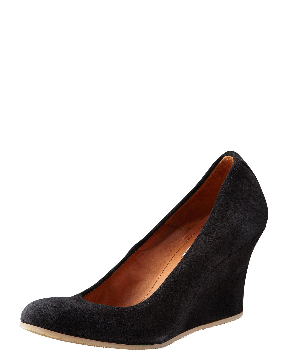 lanvin suede wedge with rubber sole in black lyst