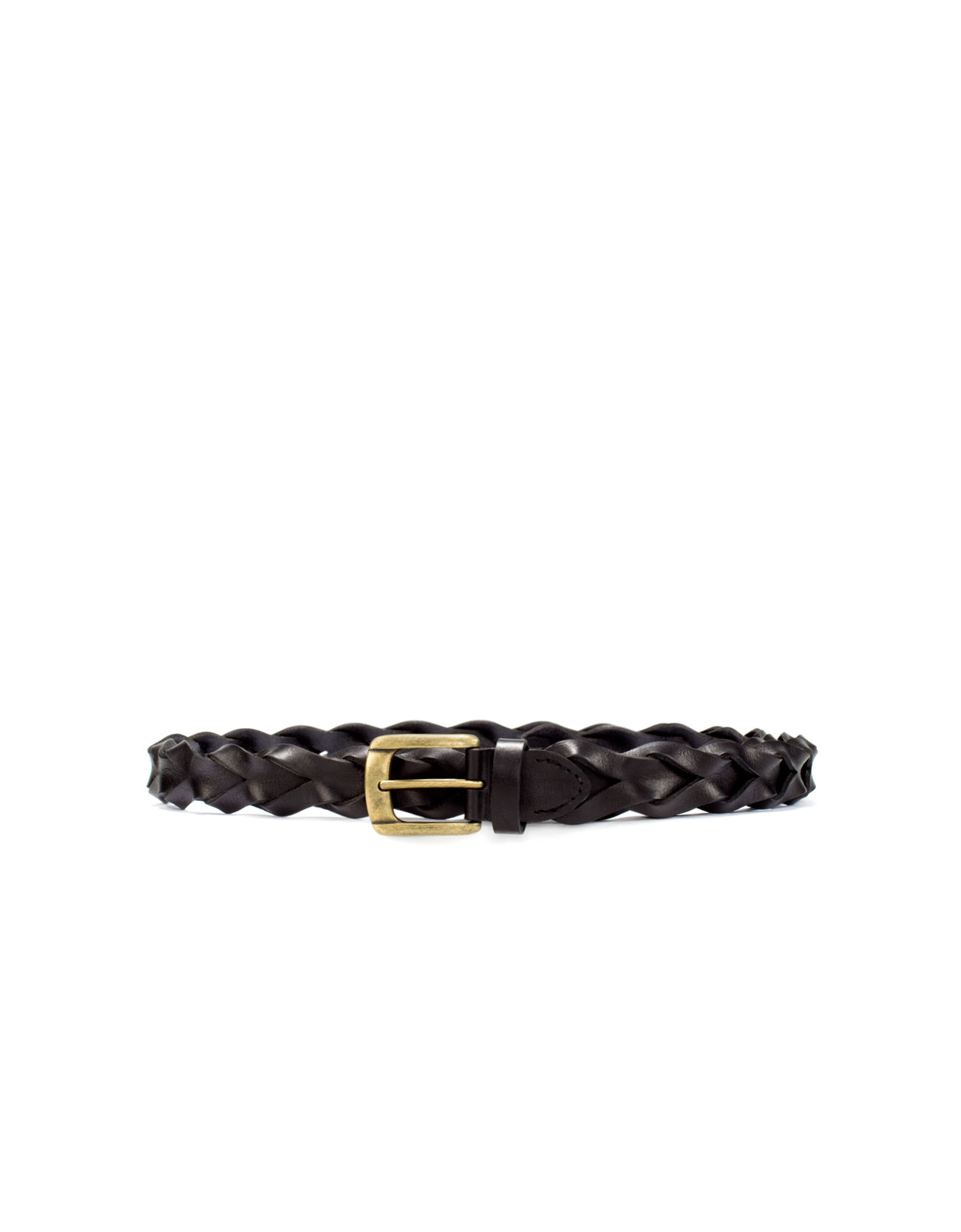 zara plaited leather belt in black for lyst