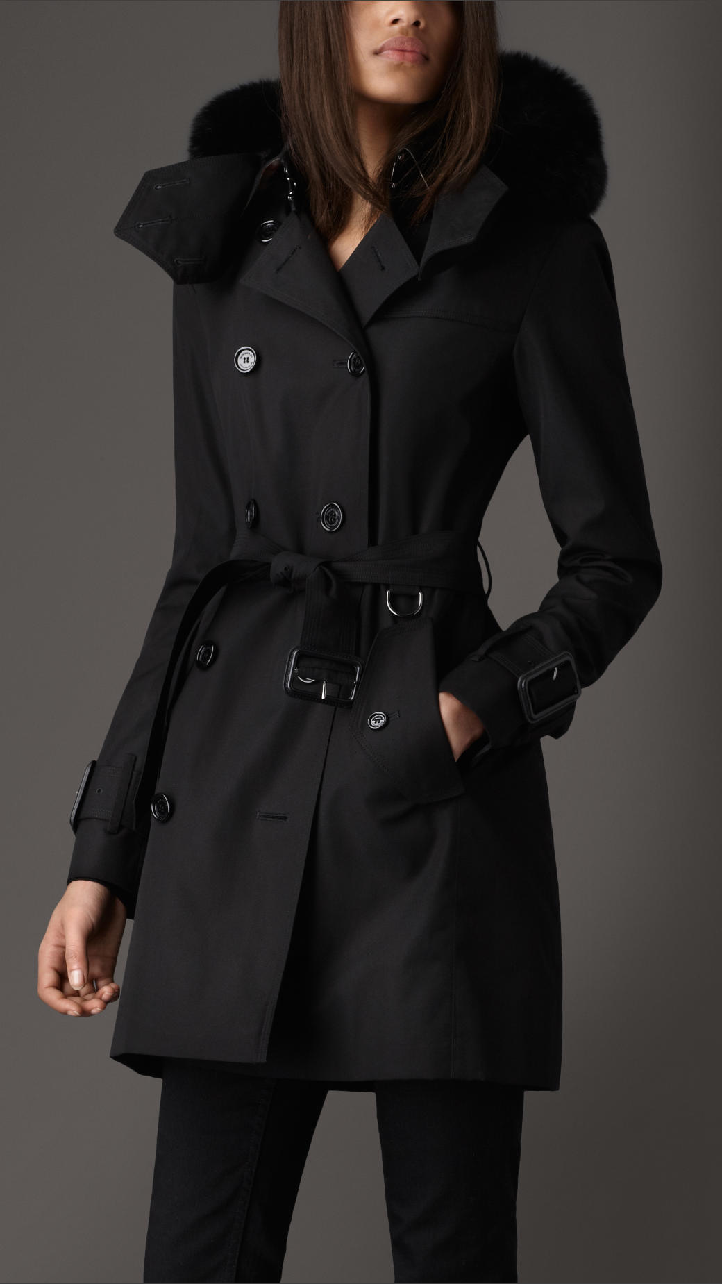 Burberry Mid Length Hooded Cotton Poplin Trench Coat In