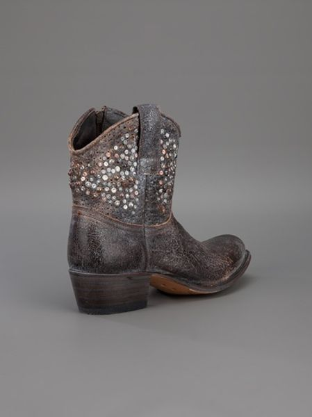 Frye Studded Cowboy Boot In Gray Grey Lyst